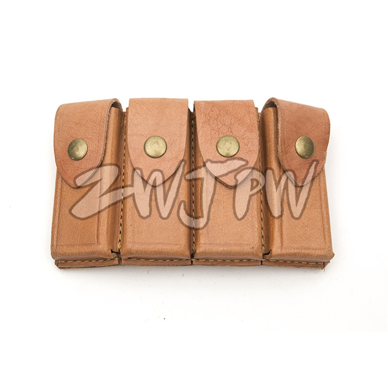 WWII Chinese KMT Army Military Leather Gear Mauser Four Cell Leather Ammo Pouch Color Brown Replica CN/104122