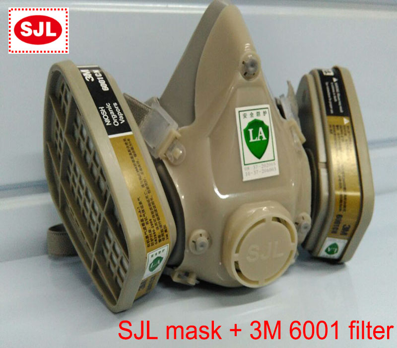 SJL respirator mask +3M 6001 filter protective mask against Painting spraying respirator gas mask 3m 7702 advanced silicone protective mask comfortable type soft respirator mask painting graffiti respirator gas mask