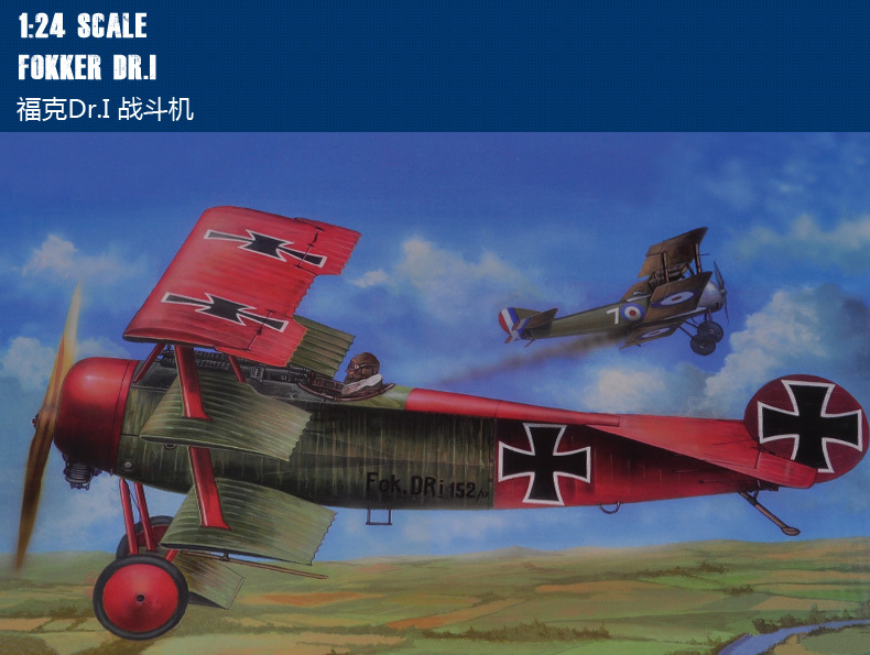 Trumpet 62403 1:24 WW1 Germany Fogg.Dr.1 Fighter Assembly Model Building Kits Toy аэрострел 1 toy т56150 air fighter