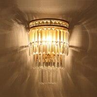 Современные L светодиодный настенный светильник роскошное прозрачное Кристальное Luminaria для Кухня Гостиная Спальня Висит золото Крытый нас