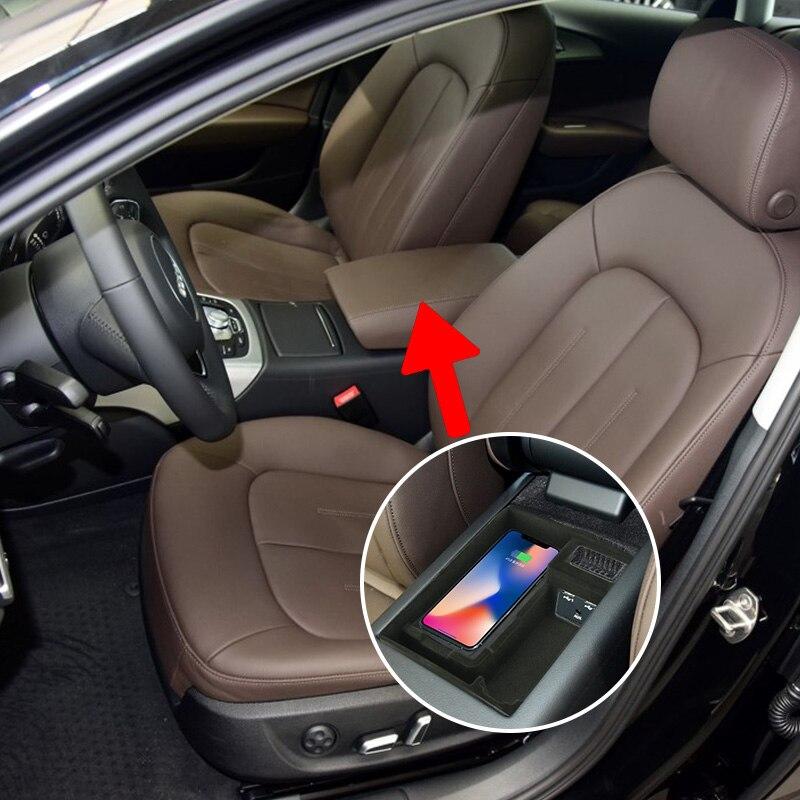 Joyeauto Aftermarket OEM быстро Беспроводной Зарядное устройство A6 A7 2014 2018 автомобиль быстро Зарядное устройство модернизации в подлокотник коробка д