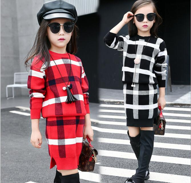 Newest Girls Korean Autumn O-Neck Plaid Sweater Two Pieces Dress Sets Kids Children Long Sleeve Knitted Dress Sets autumn winter girls children sets clothing long sleeve o neck pullover cartoon dog sweater short pant suit sets for cute girls