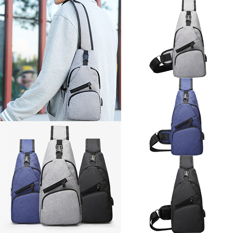 New 2019 Male Casual Leisure Sling Chest Pack Bags For Men Canvas USB Charging Men's Travel Sport Bags Fashion Cavans Waist