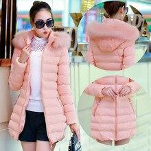 2016 новых зимняя куртка девушки тонкий размер дамы толщиной с капюшоном женщин вниз для парка