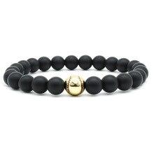 8MM matte black beaded bracelet gold and silver baseball inlaid zircon copper bracelets for women bransoletki damskie