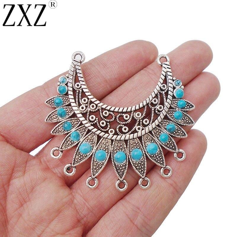 ZXZ 5pcs Crescent Connectors Chandelier Charms Necklace Pendants With Faux Turquoise Stones 54x50mm