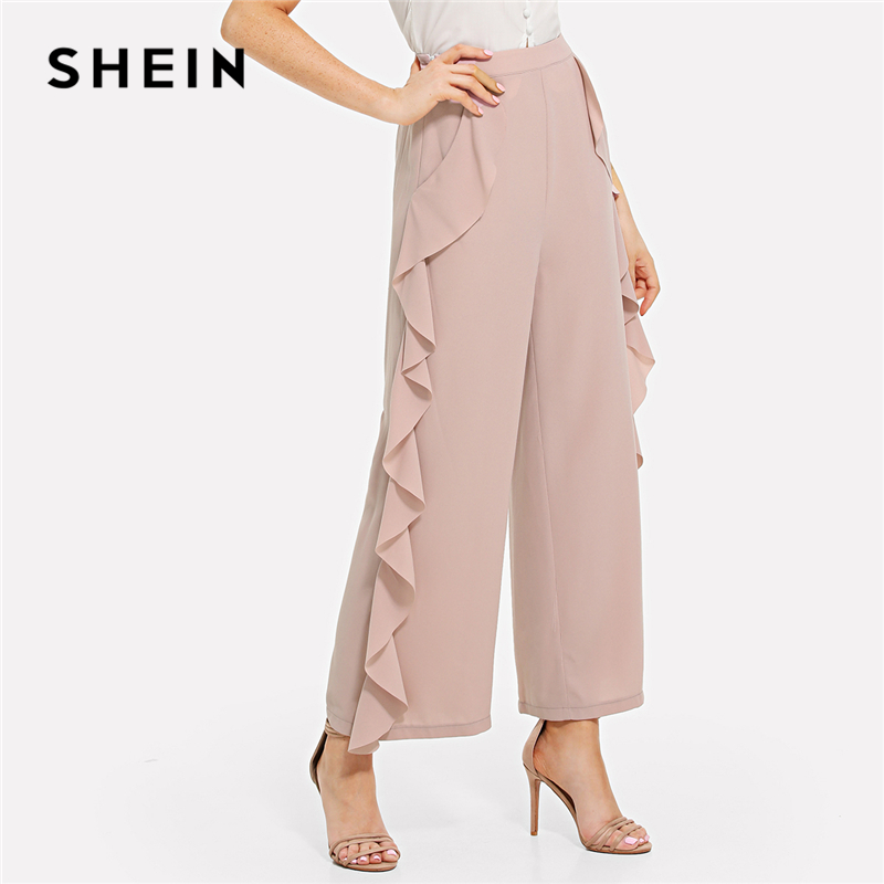 SHEIN Pink Elegant Workwear Ruffle Trim Wide Leg Pocket Zipper Fly Mid Waist Solid Pants ...