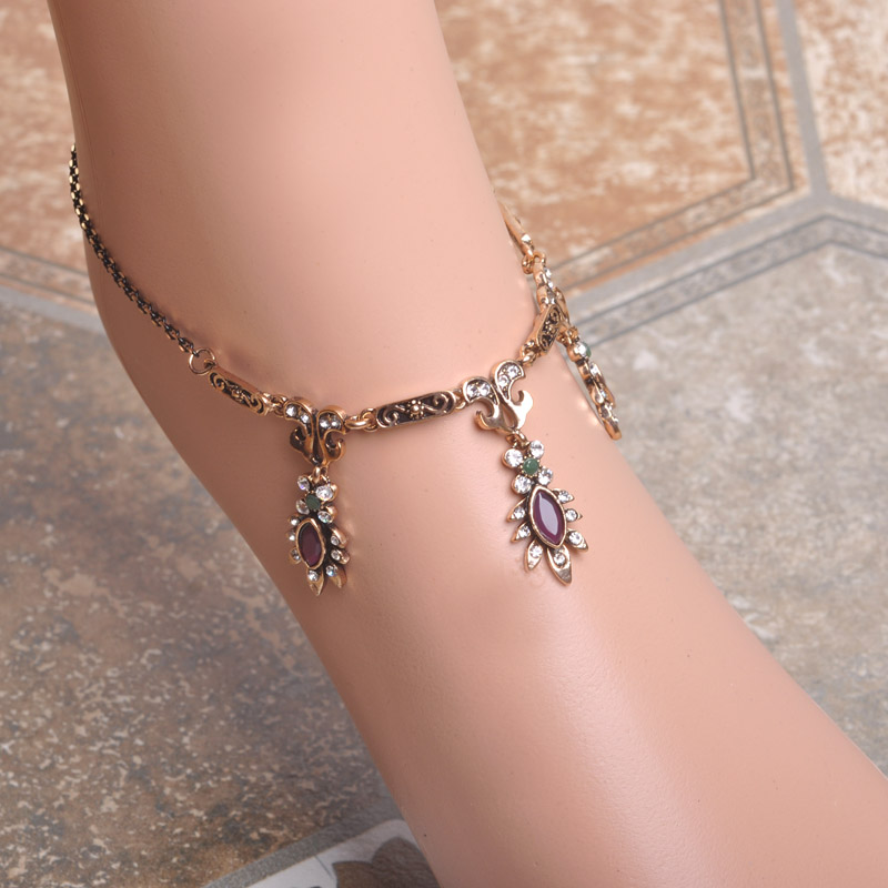 Flower Anklets For Women Summer Jewelry Ankle Bracelet Cheville Barefoot Sandals Women Foot Jewelry Vintage turkish Accessories