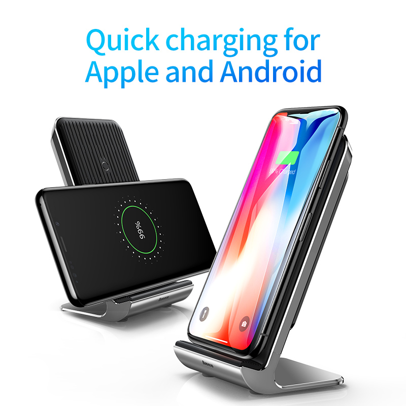 Baseus Intelligent Cooling Wireless Charger Desktop Multifunction Wireless Charging Pad For iPhone X/XS Max XR Samsung Note 9 10 2