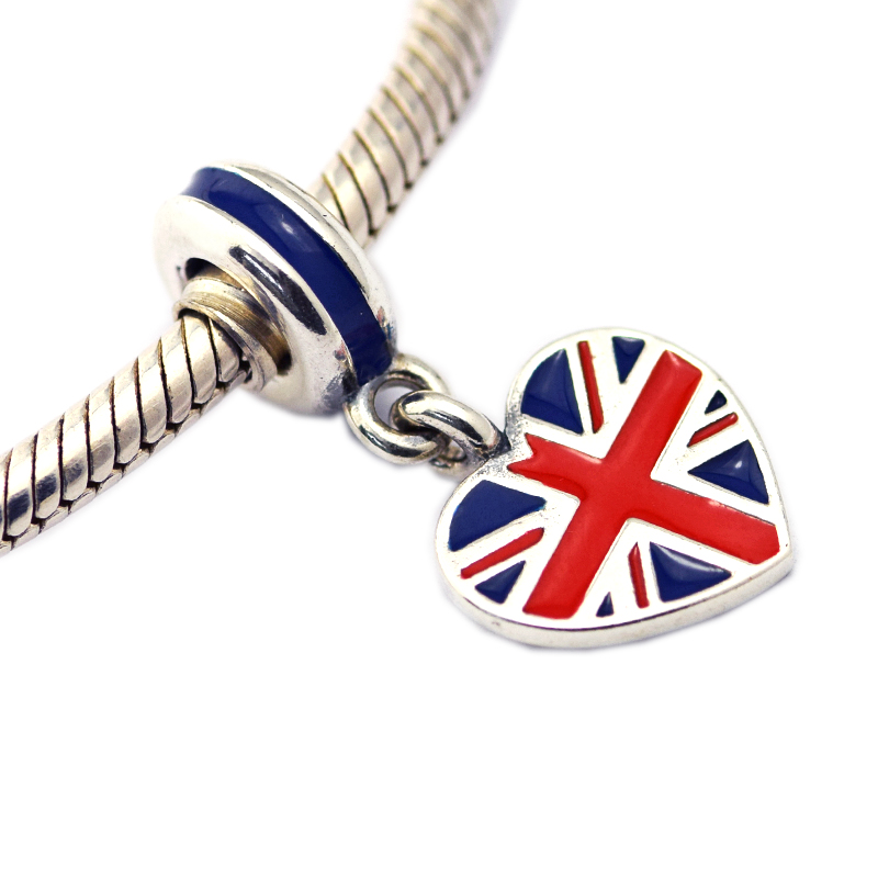 Great Britain Flag Heart Shape Silver Charms for Jewelry Making Floating UK Flag Women Charms for DIY Bracelets Silver Jewelry