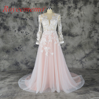2018 hot sale special lace design Wedding Dress pink and ivory color Bridal gown long sleeves wedding gown factory directly