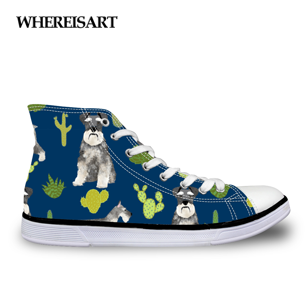 WHEREISART 2019 Women Vulcanize Shoes Schnauzer Printed for Ladies Casual Shoes Lace-Up High Top Canvas Shoes Sneakers WomanWHEREISART 2019 Women Vulcanize Shoes Schnauzer Printed for Ladies Casual Shoes Lace-Up High Top Canvas Shoes Sneakers Woman