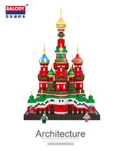 цена Architecture Famous Saint Basil's Cathedral Building Block Toys Diamond Blocks Diy Bricks educational toys for kids онлайн в 2017 году