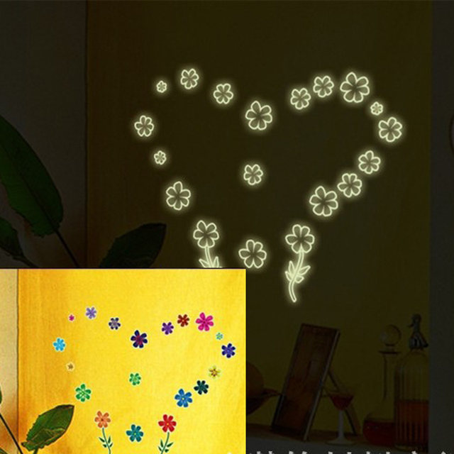 1pcs Cartoon Pastoral Flower Wall Sticker Home Decor Decals Night Glow In Dark Wallpaper Bedroom Living