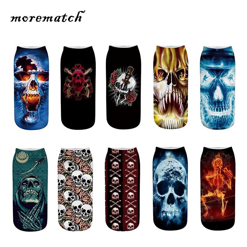 Morematch 1 Pair Men Ankle Sock Unisex Skull Pattern 3D Printing Cotton Socks Personality Punk Socks 10 Style Optional