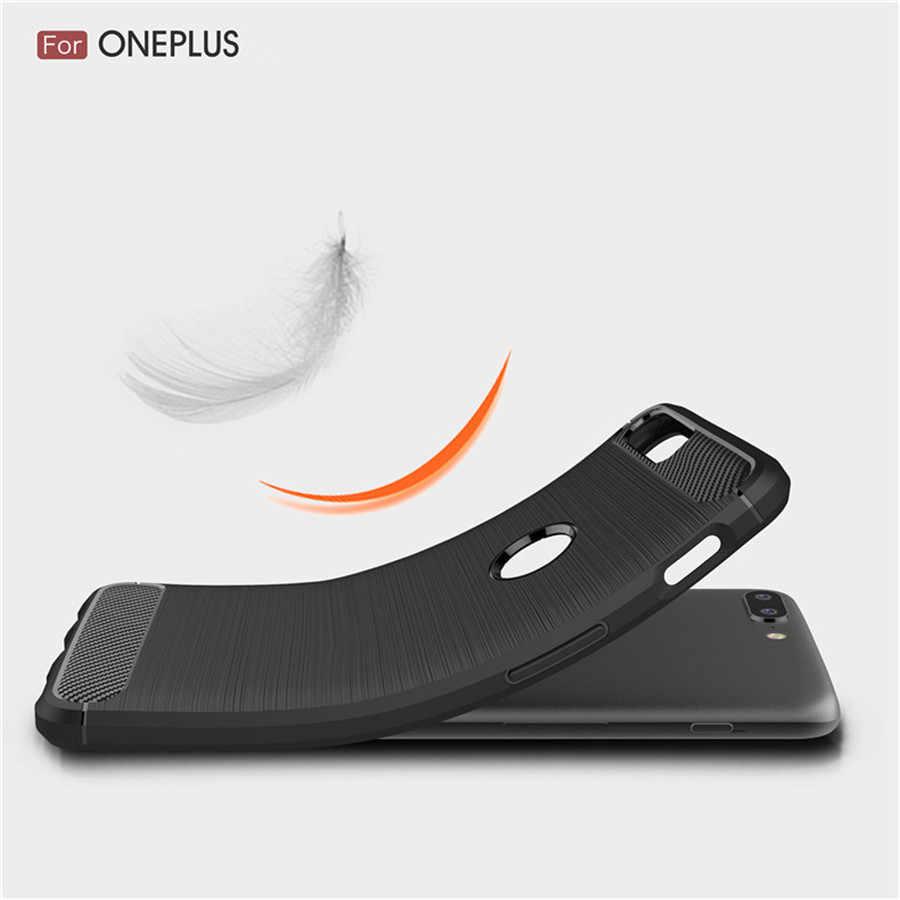 Bir artı 5 kılıfları silikon bir artı 6 6T 3 3T 5 5T durumda OnePlus 5 5T 3 3T zırh karbon TPU telefon arka kapak sağlam kılıf