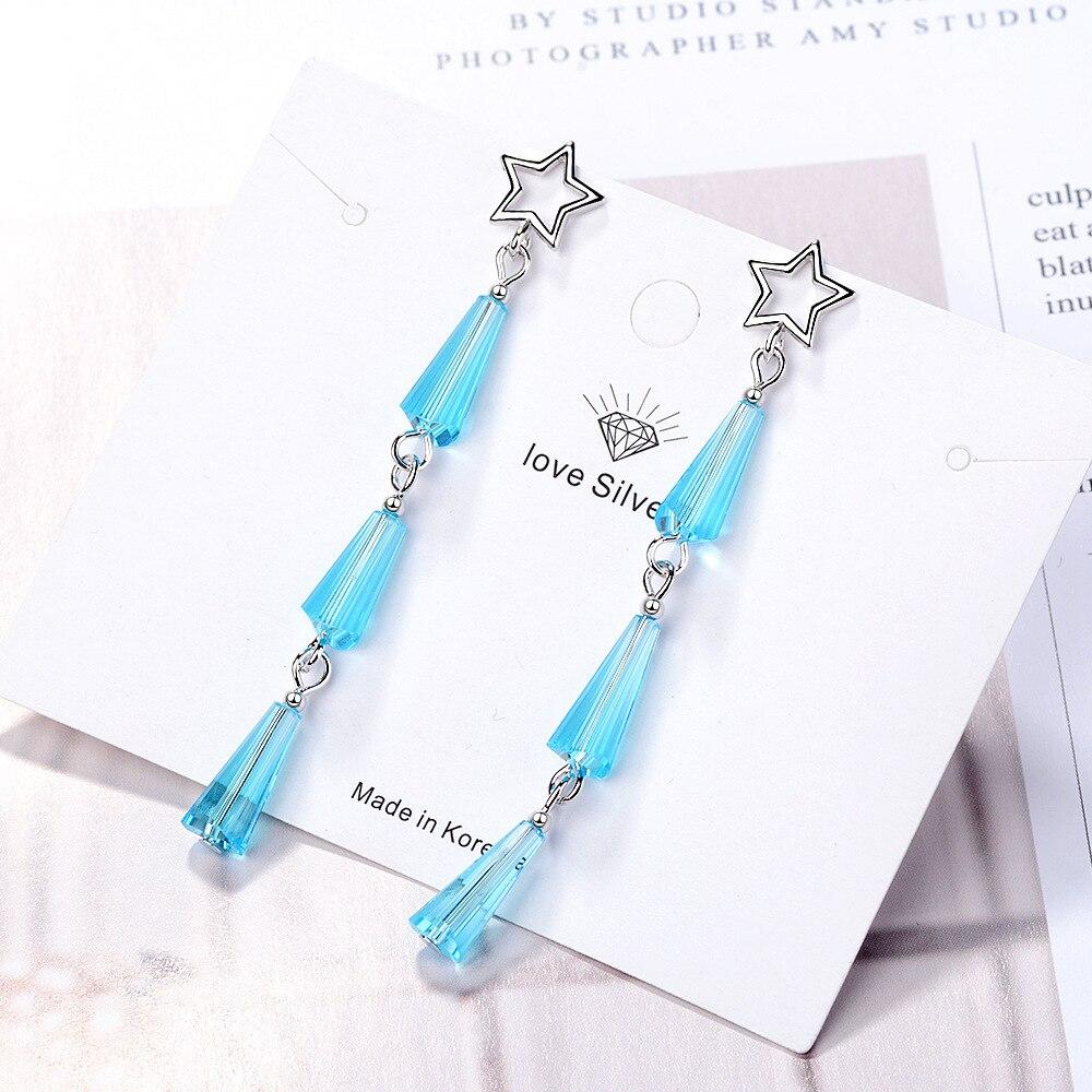 925 Silver Women Stud Earrings Wild Simple Temperament Fringed Artificial Crystal Fan Long Earring for Women Fashion Jewelry in Stud Earrings from Jewelry Accessories