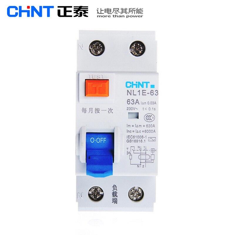 CHINT NL1E-63 1 p + N 2 p 63A 40A 25A 30MA RCCB 50 hz/60 hz Elétrico Eletrônico proteção de corrente Residual Disjuntor de fuga
