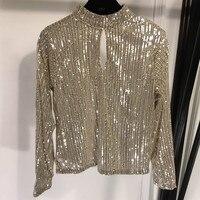 Блузка с блестками Дизайн Мода длинный рукав женская подиумная шикарная рубашка женская повседневная Вечерние