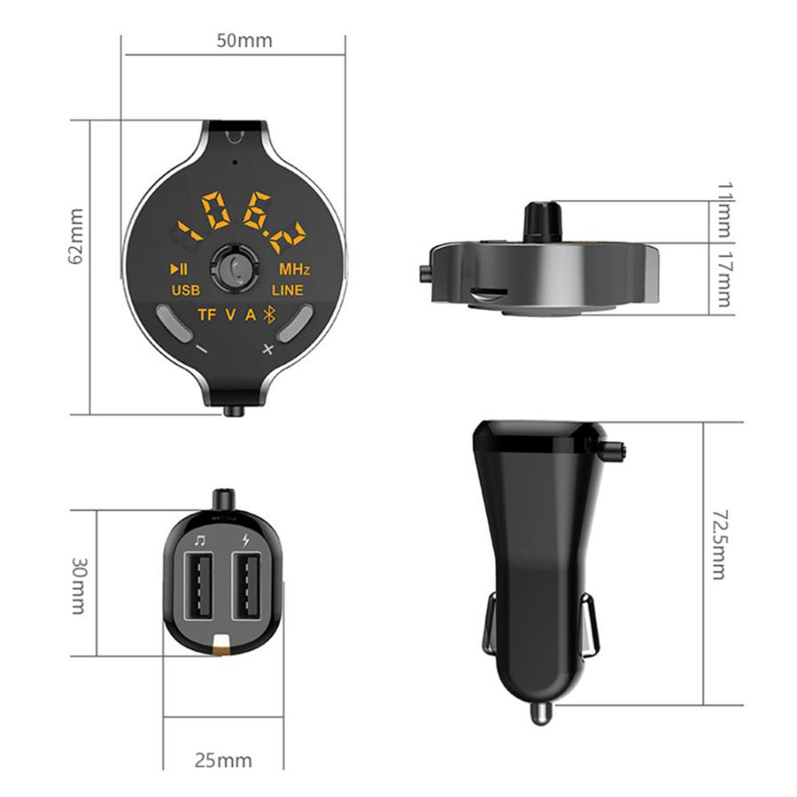 Q8S FM Transmitter Bluetooth Car Kit Charger Hands-free Car MP3 Player Car Charger Auto Parts # ZC