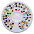 3-5mm 60pcs Colorful 3D Nail Art Design Decoration Rhinestones Acrylic Beads with Metal Rim for Nails Manicure