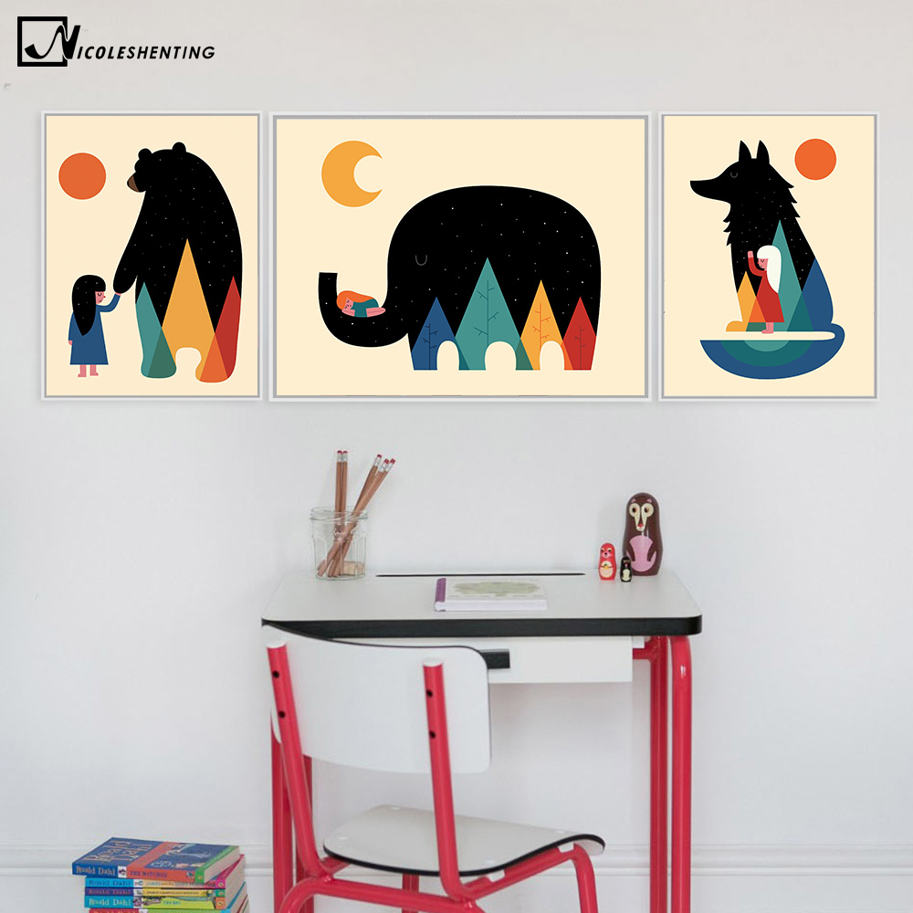Nordic Cartoon Animal Canvas Art
