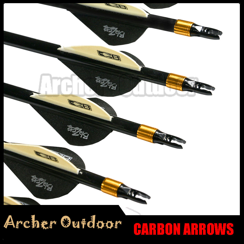 12Pcs Linkboy Archery Pure Carbon Arrow Spine 300 340 400 500 600 ID 6 2mm Compound