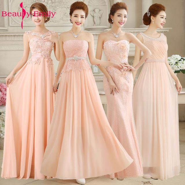 Beauty Emily Pink Wedding Party Lace Bridesmaid Dresses 2017 Long Vestidos De Noiva Winter Dress