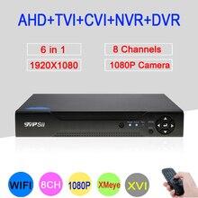 XMeye Hi3521A 8 Canal 8CH 1080 p Full HD Gravador de Vídeo Vigilância 6 na TVI 1 Híbrido Wi-fi Onvif NVR CVI DVR AHD Frete Grátis