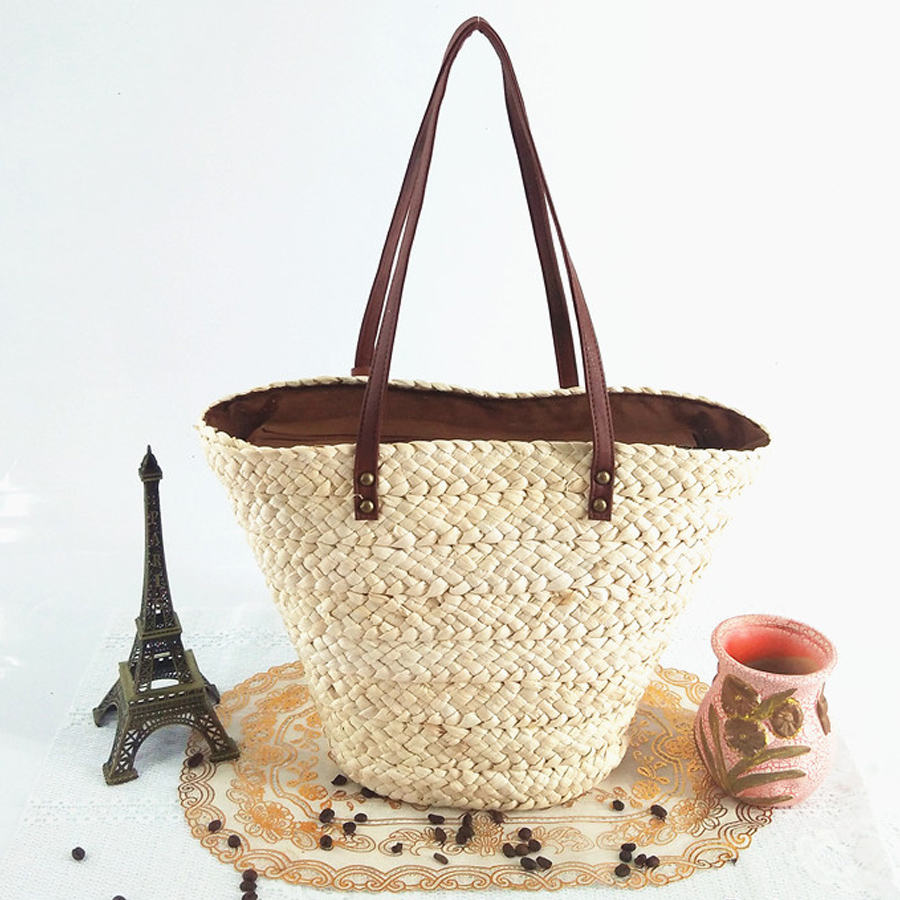 a7fef9bf7300 Summer style fashion Womens Straw Weave Woven Shoulder Tote Shopping Beach  Bag Purse Handbag straw Beach Bags travel lady s bag