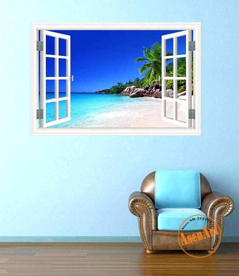 Summer Beach Cocotero Mar Del Paisaje 3D Etiqueta de La Pared Removible Wallpape