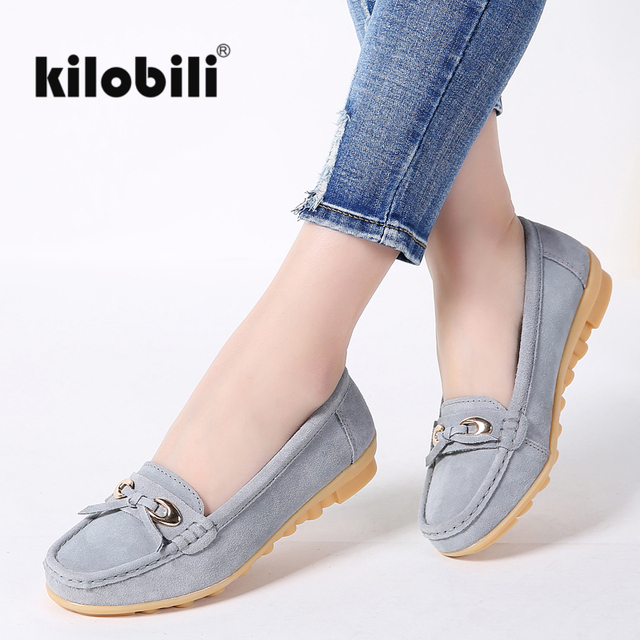 4da63710949 kilobili 2018 women ballearina flats shoes genuine leather slip on women  moccasins ballet shoes shallow loafers