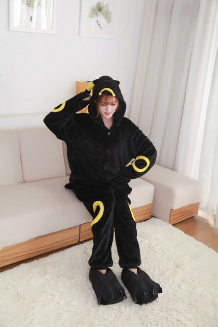 Pokemon Go Kigurumi new anime cartoon  Umbreon Romper Polar Pajamas Cosplay Costume Animal Onesie Night
