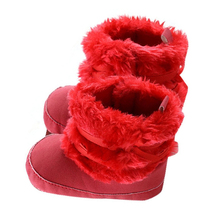 MACH Baby Boy Girl Bowknot Shoes Toddler Snow Boots Warm Winter (12CM, Red)