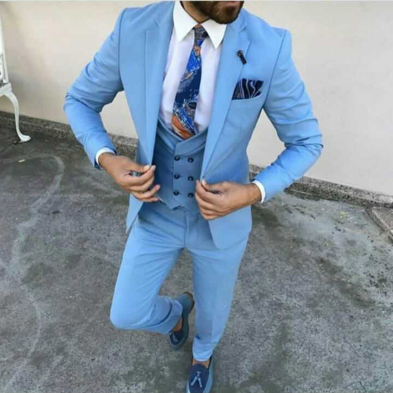 Light Blue Prom Men Suits For Wedding Evening Party Groom Tuxedos Slim Fit Terno Masculino Custom Made Costume Homme 3Piece