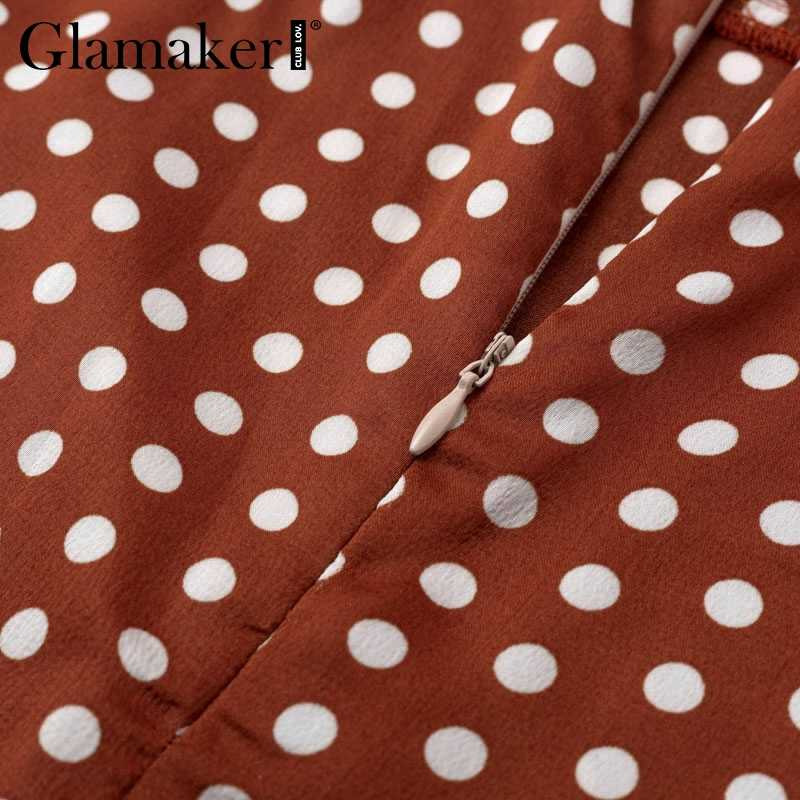 Glamaker сексуальный горошек Бохо гофрированное сшитое платье миди женское с v-образным вырезом праздничное облегающее платье Летнее элегантное для вечеринки и клуба платье vestidos
