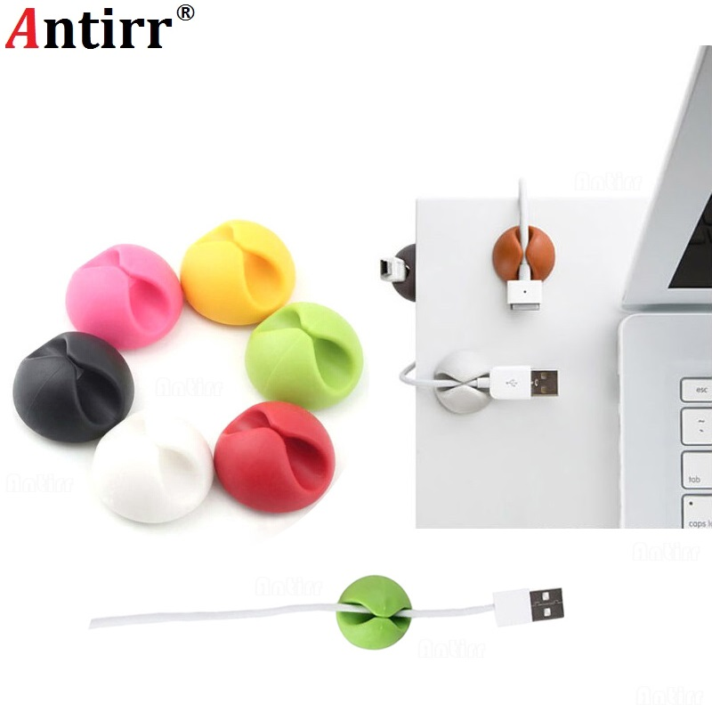 Round Clip phone Cable Winder Bobbin clamp protector Earphone Ties Organizer Wire Cord Fixer Holder Collation Management multipurpose desktop phone cable winder earphone clip charger organizer management wire cord fixer silicone holder 5 slot strip