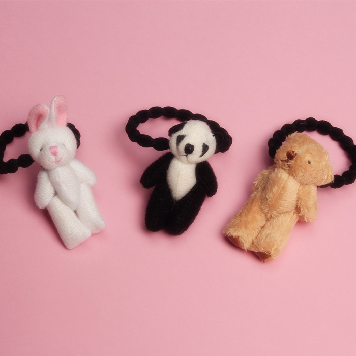 1 PCS New Cute Plush Panda Children Hair Ropes Cute Elastic Rubber Hair Band Girls Hair Accessories Baby Headwear Kids Headdress 12pc set elastic hair rubber band children hair unicorn headband kids hair accessories gril hair band set cute unicorn cartoon
