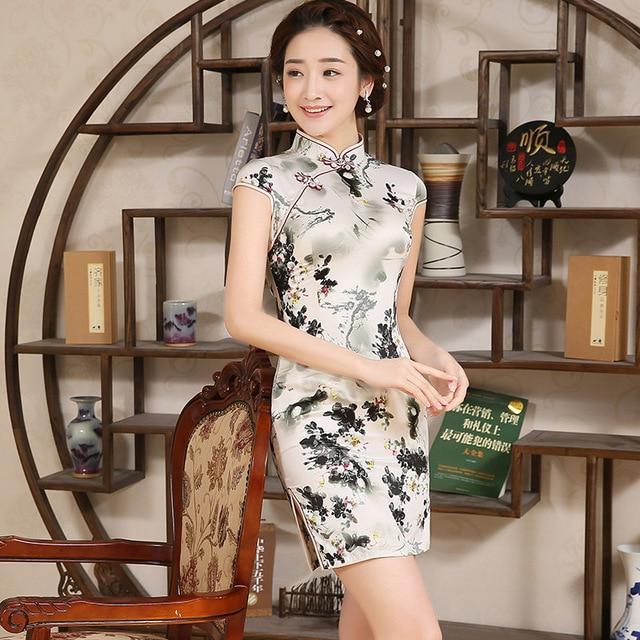 quality design 2b4b8 f5b60 US $19.85 45% di SCONTO|Donne Vestito Sottile Cheongsam Breve Signora  Elegante Abito Tradizionale Cinese Femminile Dell'annata Imitazione Di Seta  ...