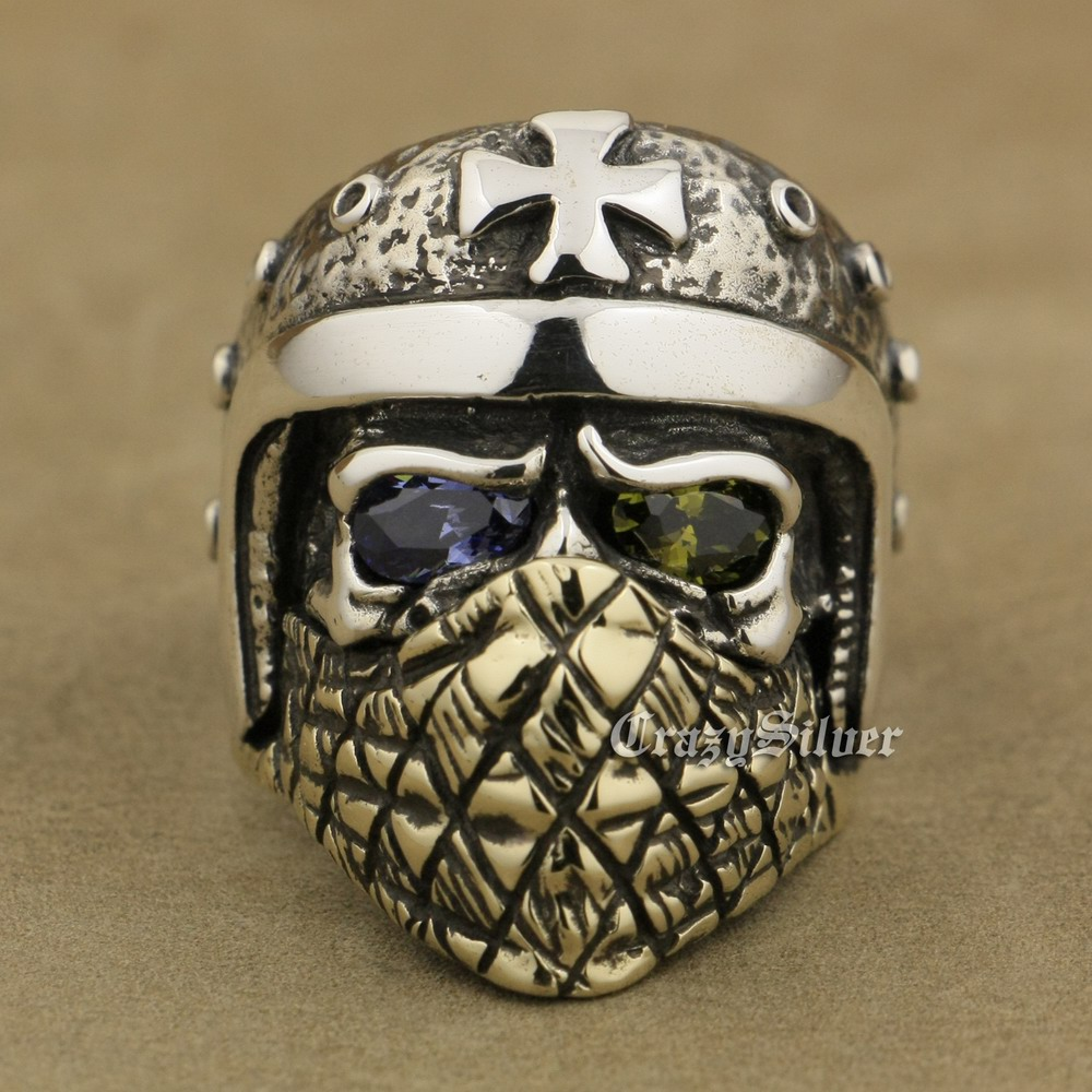 925 Sterling Silver Motorcycle Skull Ring Purple Olive Green CZ Brass Mask TA30A