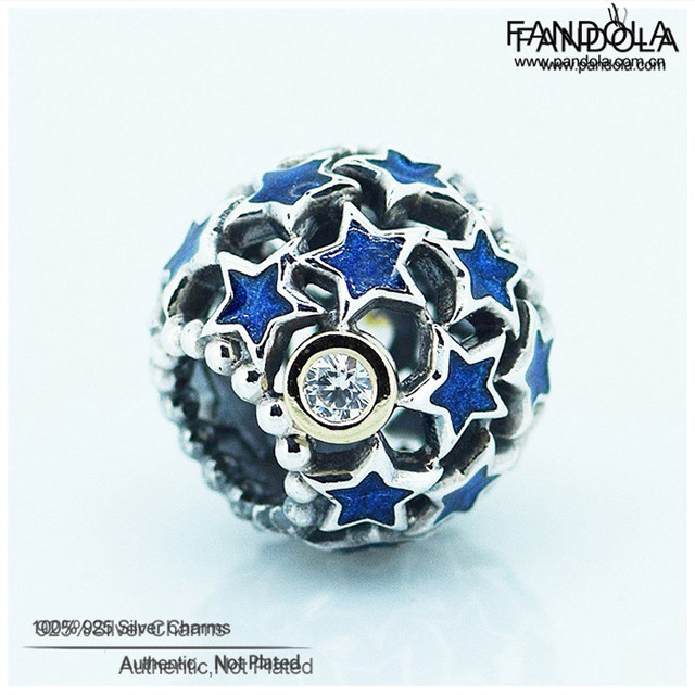 Fits Pandora Charms Bracelets S925 Sterling Silver Jewelry Beads Night Sky Openwork Charm DIY Jewelry Making Wholesale FL102