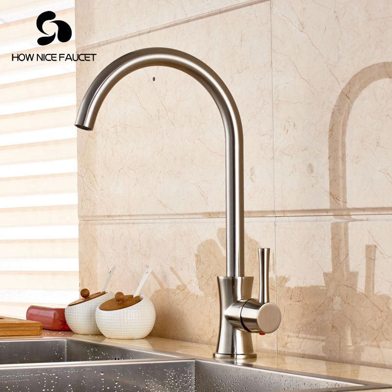 цена Brushed Nickel Pull down Spray Kitchen Sink Faucet Single Handle Mixer Tap With LED Lights в интернет-магазинах