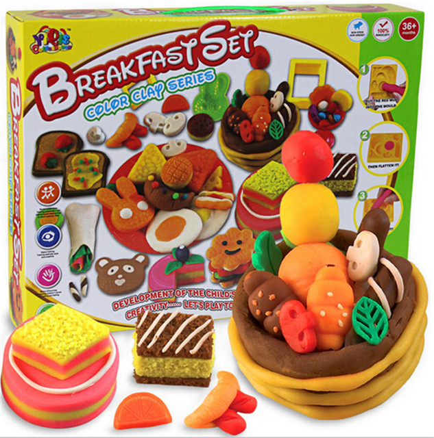 3D  Play Doh Handgum  Plasticine Creative fimo polymer clay tools set for Breakfast set educational toys for children