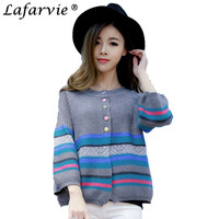 Lafarvie 2016 New Fashion Women Casual Loose Knitted Cashmere Sweater Long Sleeve O Neck Striped Cardigan