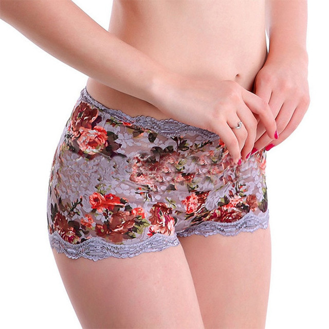 2733f71491e Sexy Women s Floral Lace Boyshorts Panties Mid Waist Lift The Hips Briefs  Women Fashion Breathable Soft Boxer Underwear