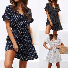 2019 New Arrival Fit And Flare Dot Knee-length Summer Dress Vestidos Women Dresses Sexy Wave Point V-neck Lace-up Chiffon