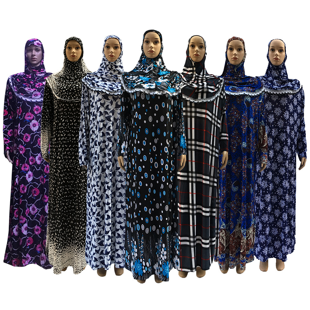 H1232 latest mixed prints kaftan muslim dress printed pray dress fast delivery mixed sizes
