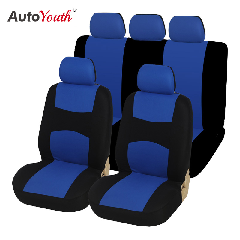 Car Seat Covers Set for Auto, Truck, Van, SUV - Polyester, Airbag Compatible, Universal Fit (Light Blue 9-Pieces)