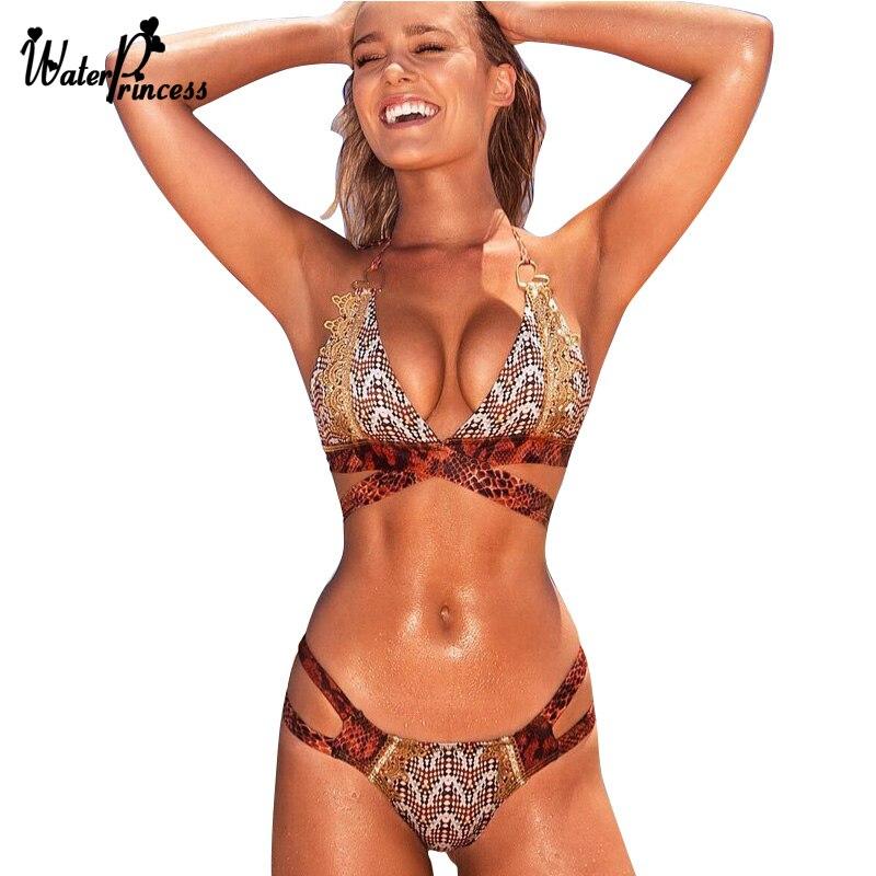 hot sexy bikini delle donne serpentina serpente costume da bagno push up vita alta hollow trikini