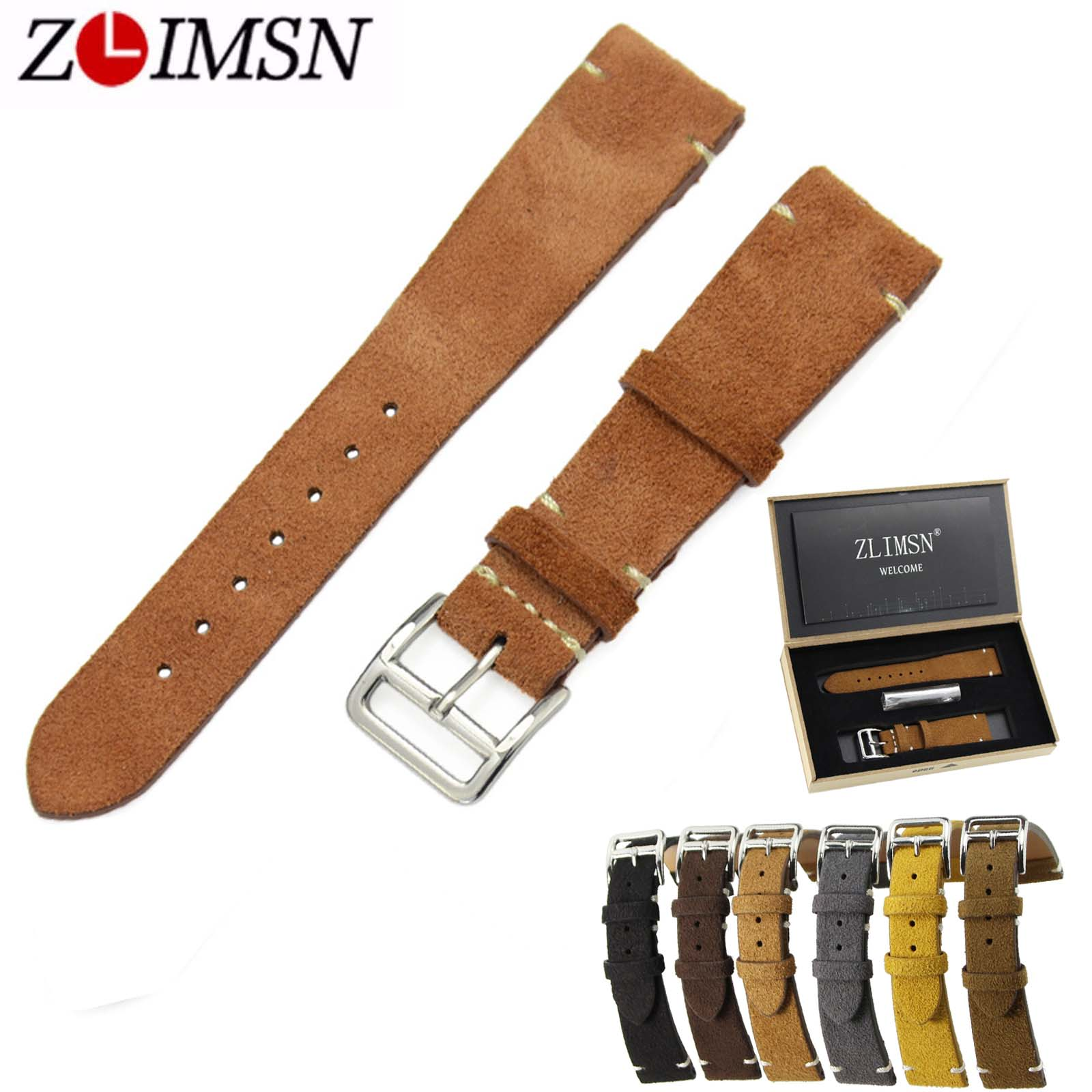 ZLIMSN Genuine Leather Watch Bands Replacement 20mm Grey Brown Black Yellow Watchband Silver Polished Stainless Steel Buckle цена и фото